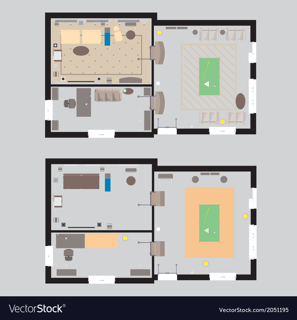04 house plan v vector | Price: 1 Credit (USD $1)