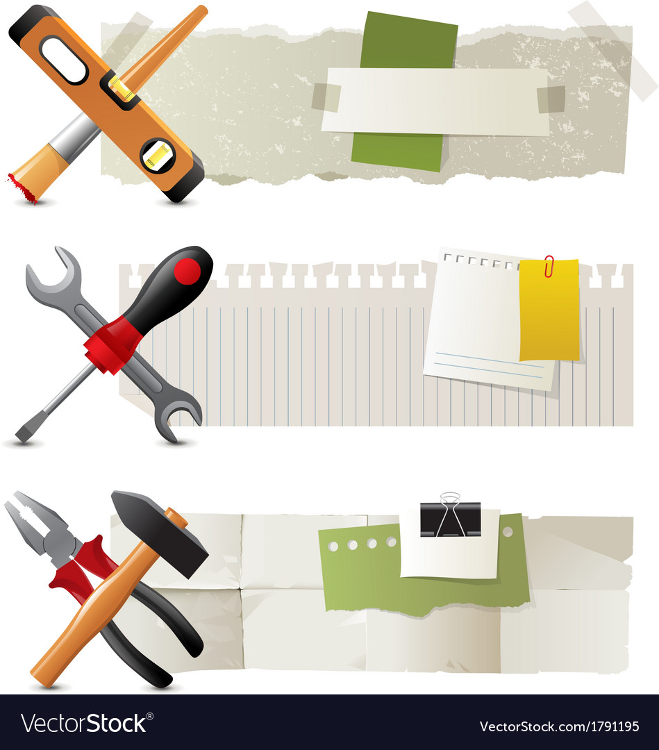 Banners with working tools vector | Price: 1 Credit (USD $1)