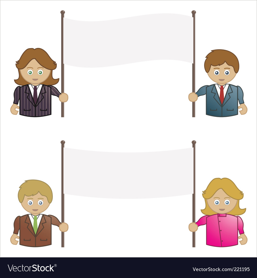 Business people holding signs vector | Price: 1 Credit (USD $1)