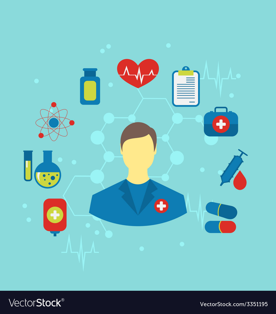 Doctor with flat medical icons for web design - vector | Price: 1 Credit (USD $1)