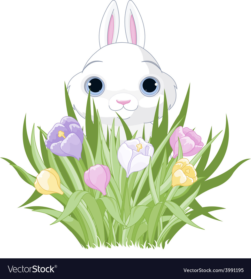Easter bunny with crocus bouquet vector | Price: 3 Credit (USD $3)