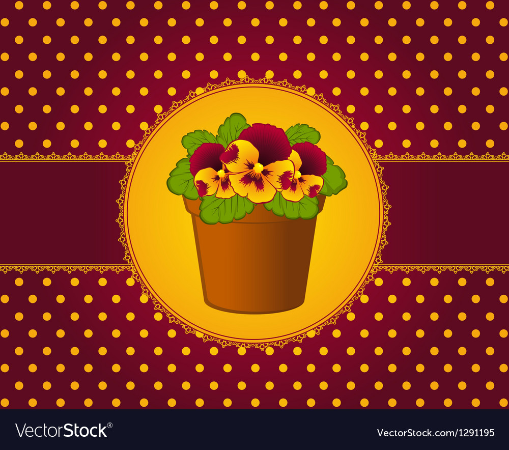 Pansy in pot with lace ornaments vector | Price: 1 Credit (USD $1)