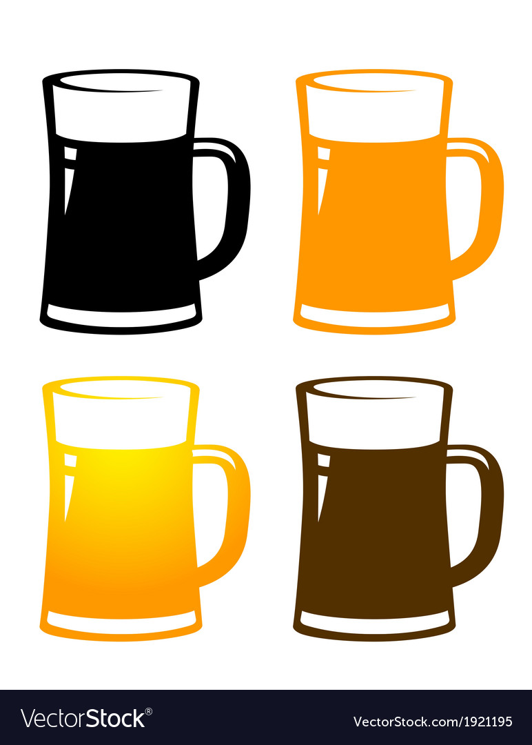 Set of colorful beer mugs vector | Price: 1 Credit (USD $1)