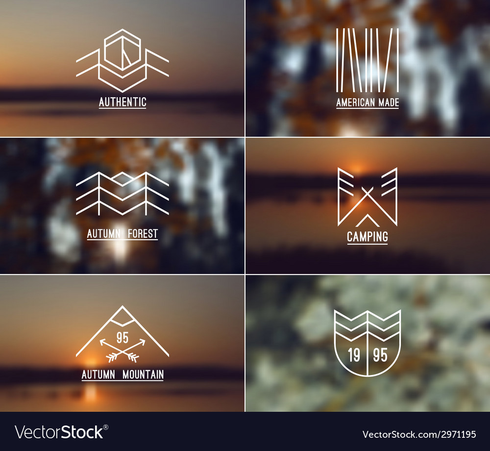 Set of retro vintage badges and blurred background vector | Price: 1 Credit (USD $1)