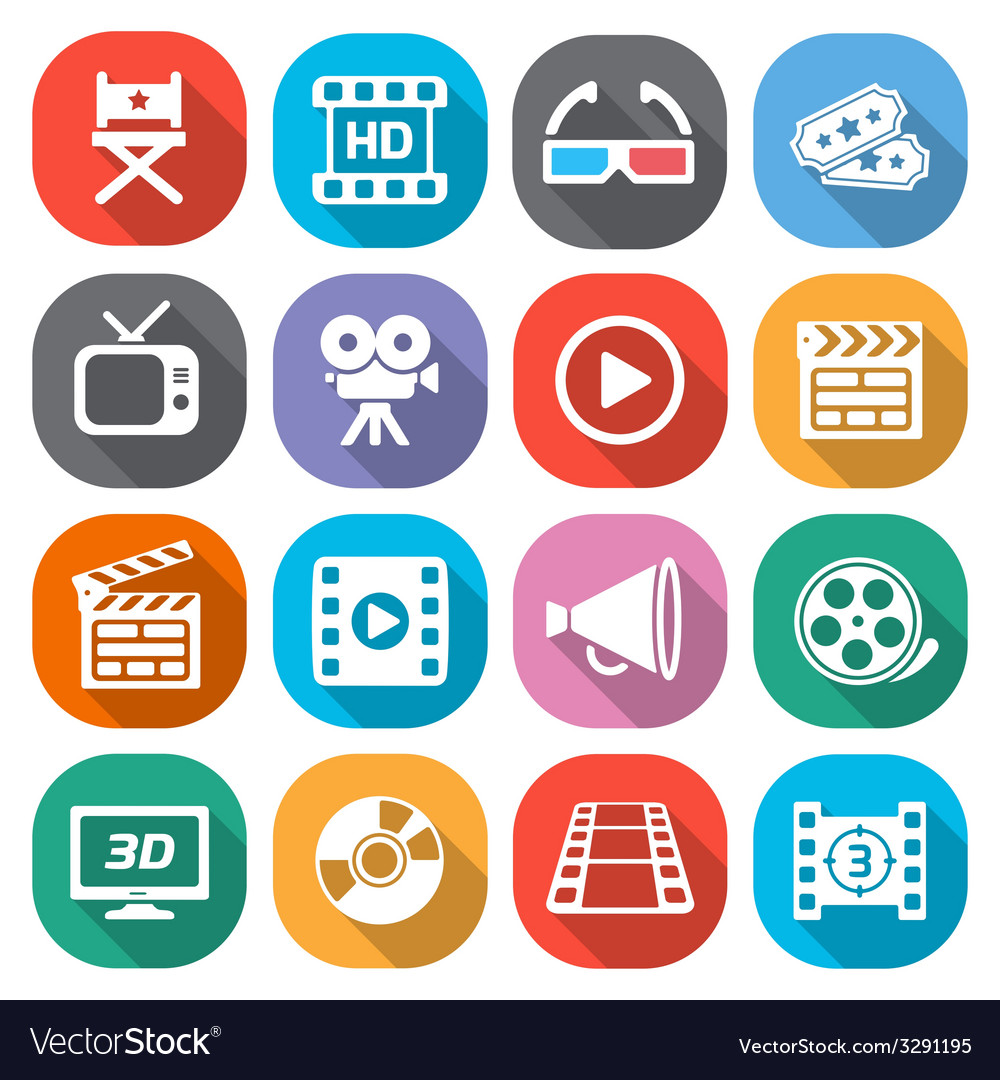 Trendy flat cinema and movie icons vector