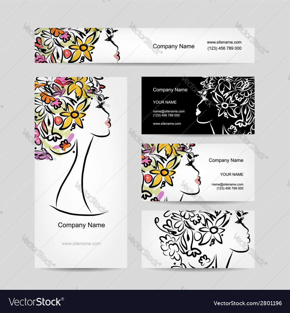 Business cards design with female floral head vector | Price: 1 Credit (USD $1)