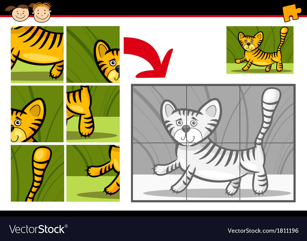 Cartoon tiger jigsaw puzzle game vector | Price: 1 Credit (USD $1)