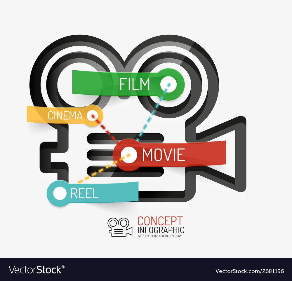 Cinema and movie infographic concept line style vector | Price: 1 Credit (USD $1)