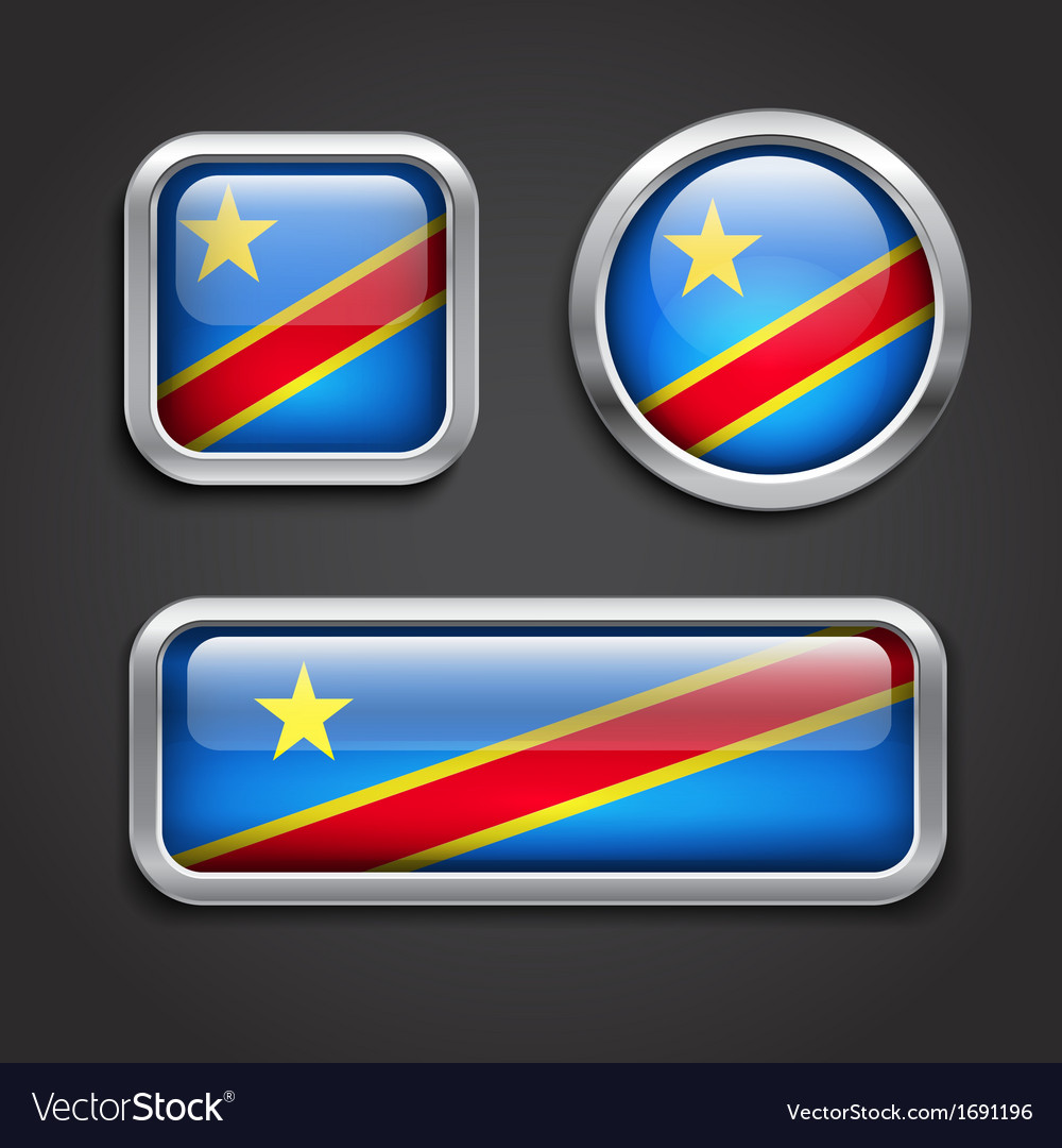 Congo flag glass buttons vector | Price: 1 Credit (USD $1)