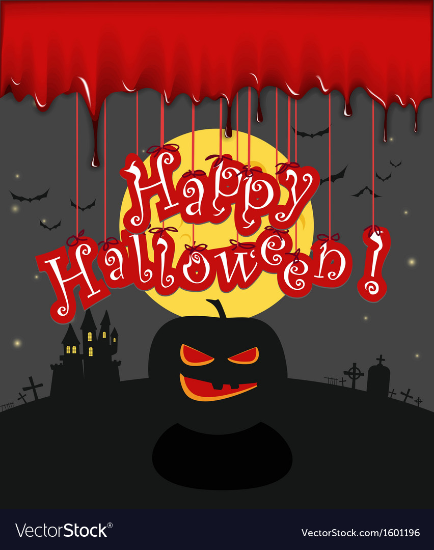 Dark sillhouettes happy halloween vector | Price: 1 Credit (USD $1)