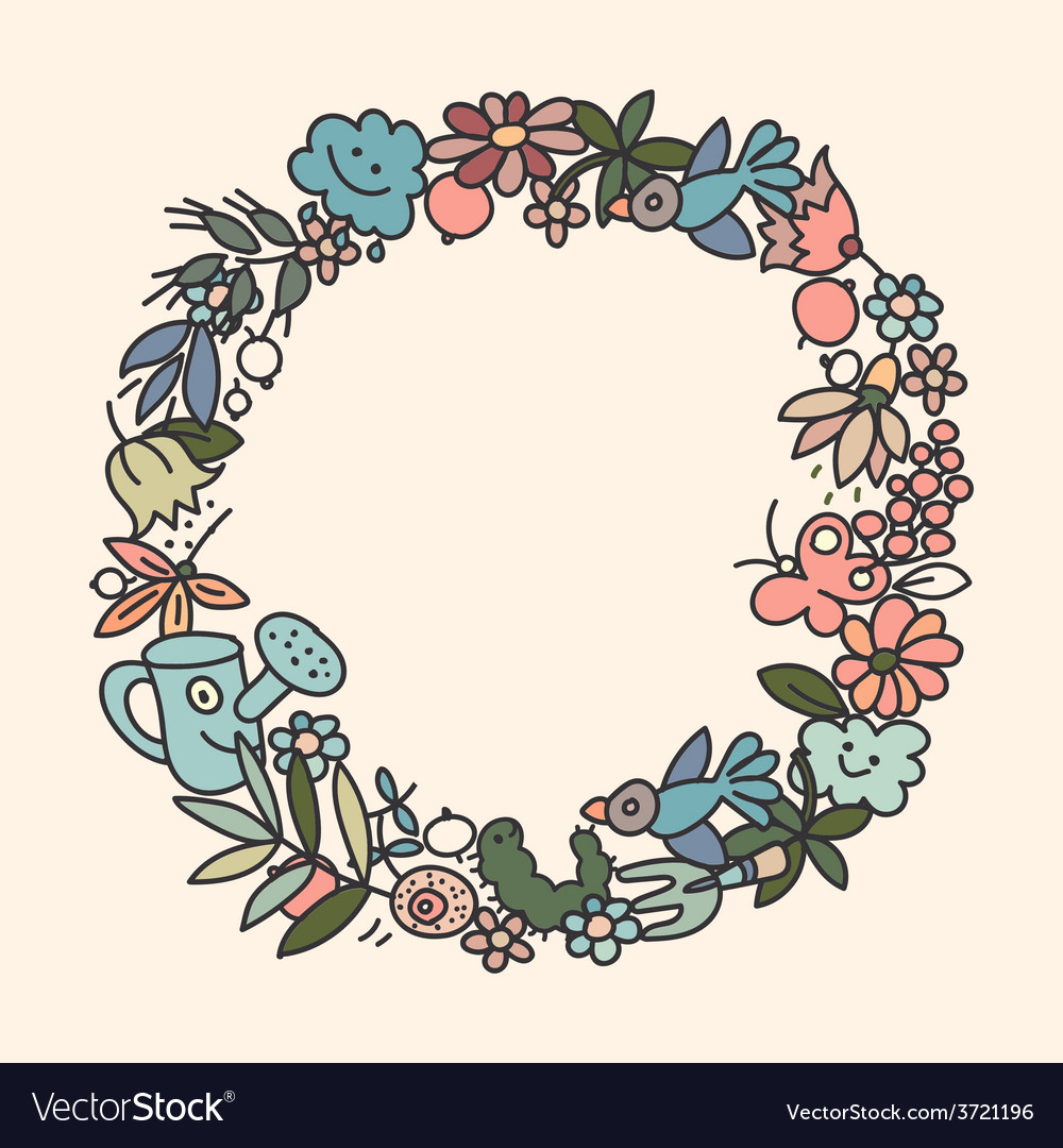 Garden doodls frame vector | Price: 1 Credit (USD $1)