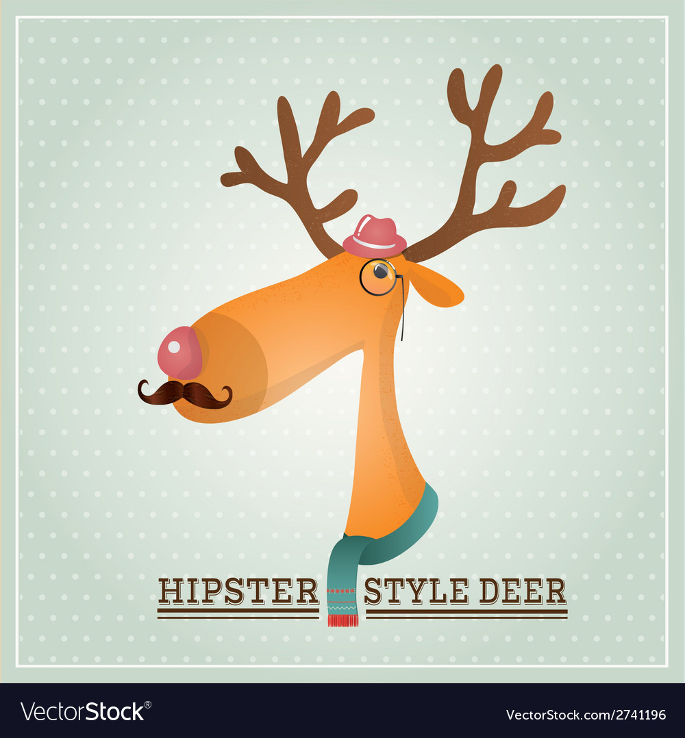 Hipster reindeer vector | Price: 1 Credit (USD $1)