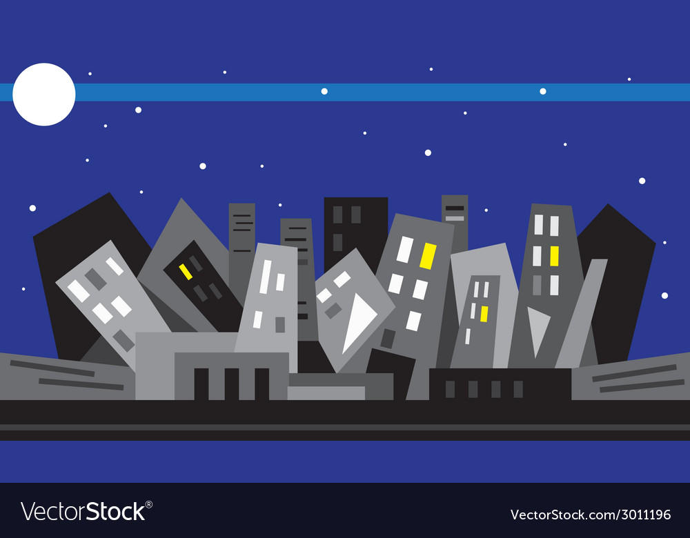 Night city - vector | Price: 1 Credit (USD $1)