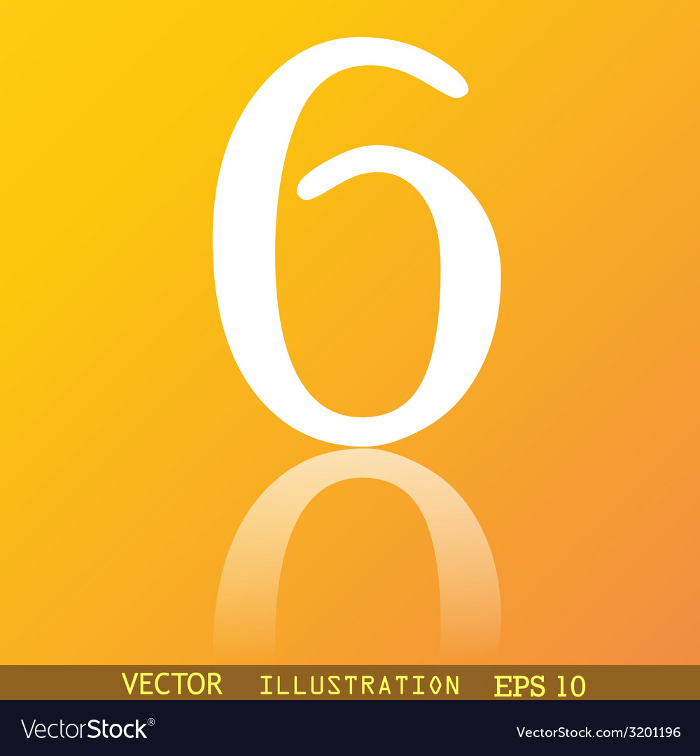 Number six icon symbol flat modern web design with vector | Price: 1 Credit (USD $1)
