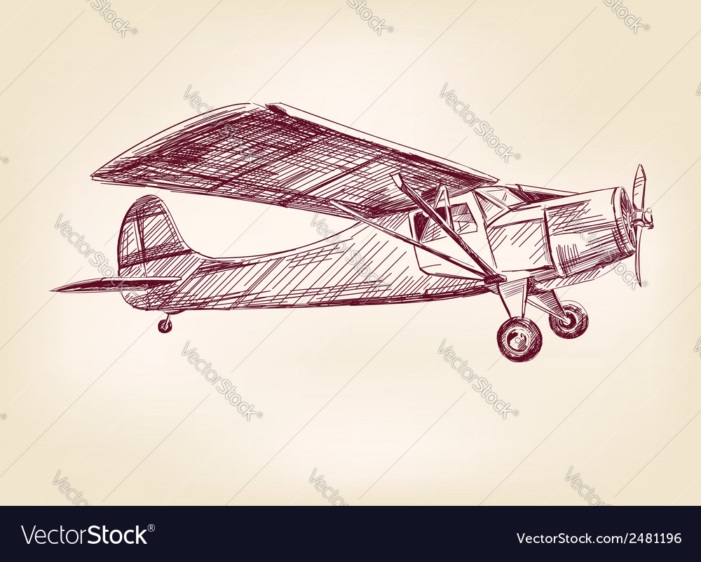 Plane hand drawn llustration realistic sketch vector | Price: 1 Credit (USD $1)