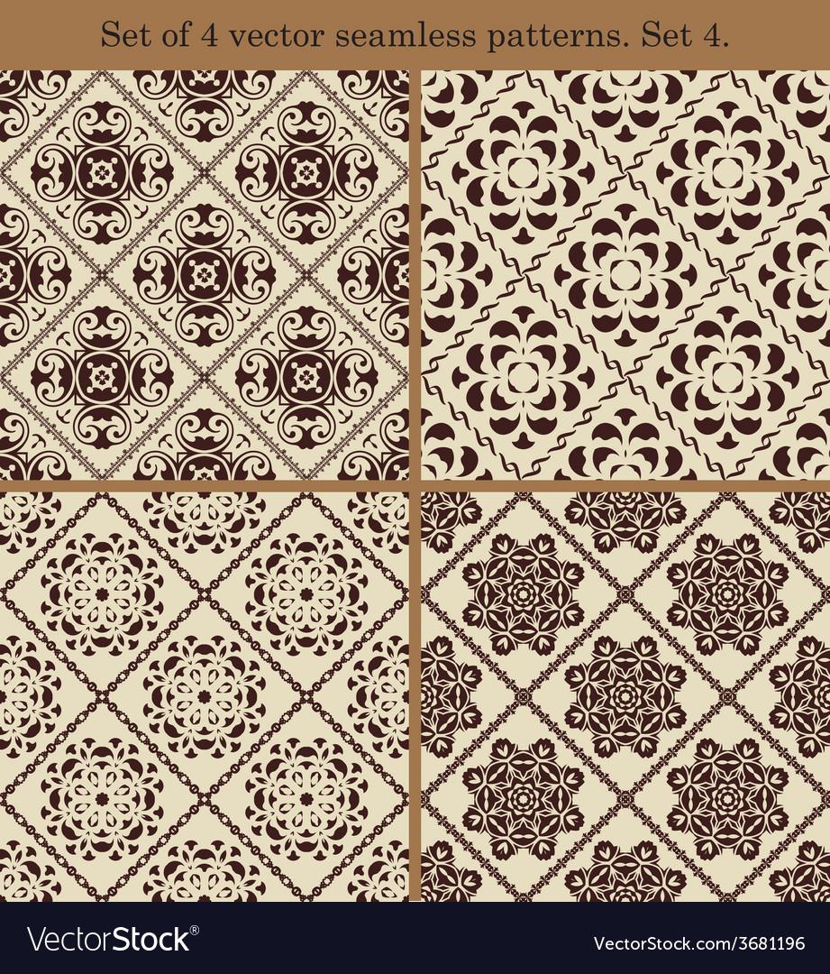 Set of 4 vintage seamless patternsset 4 vector | Price: 1 Credit (USD $1)