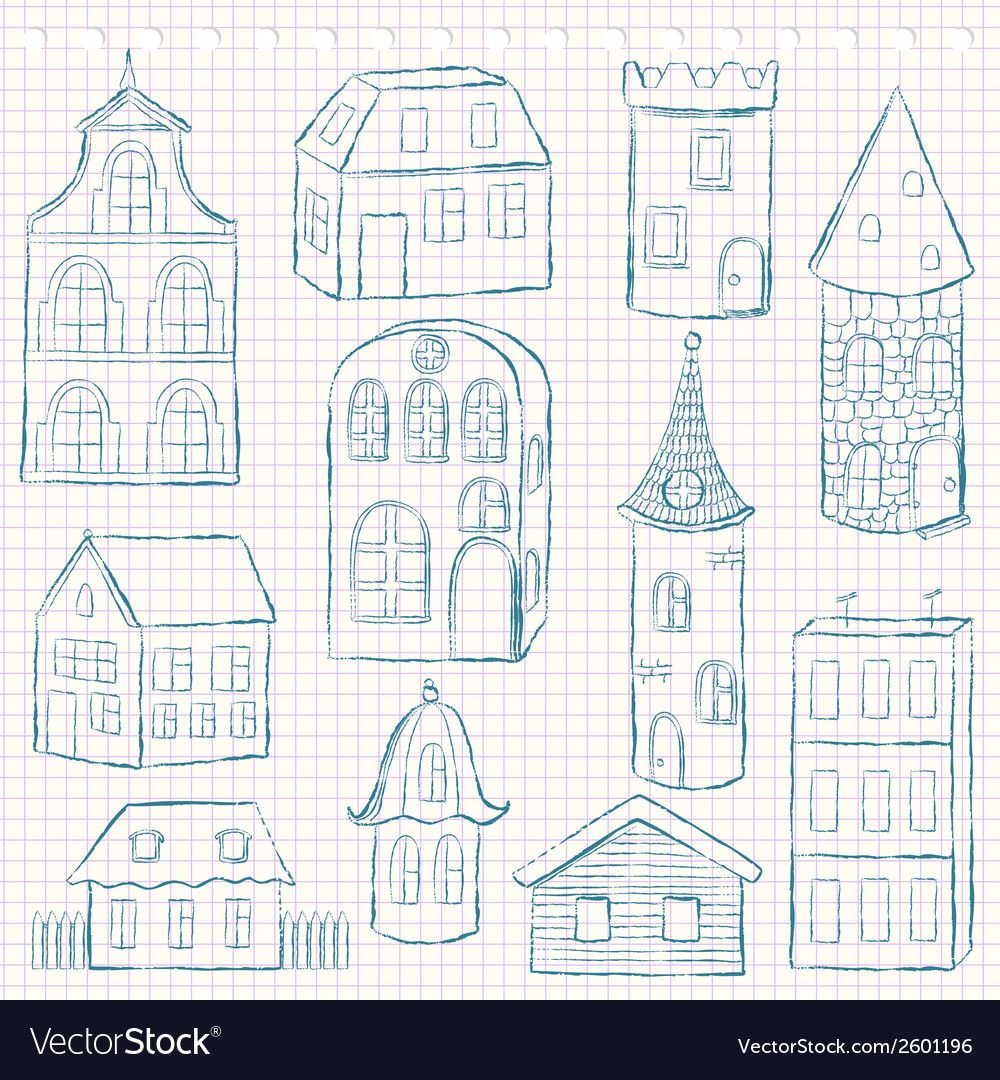 Set of doodle houses on checkered page vector | Price: 1 Credit (USD $1)