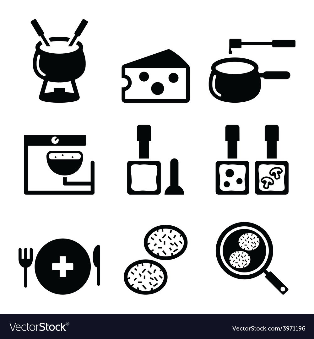 Swiss food and dishes icons - fondue raclette vector | Price: 1 Credit (USD $1)