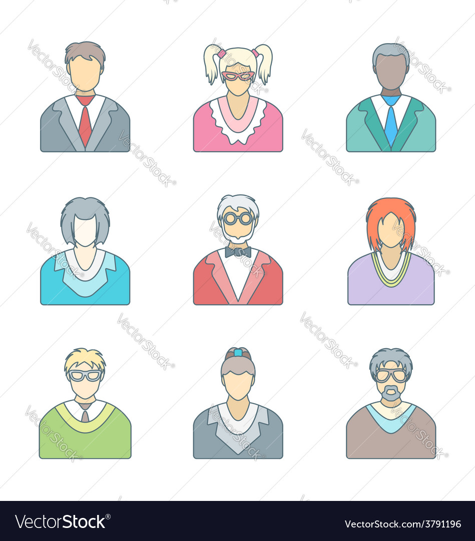 Various color outline people in glasses icons set vector | Price: 1 Credit (USD $1)