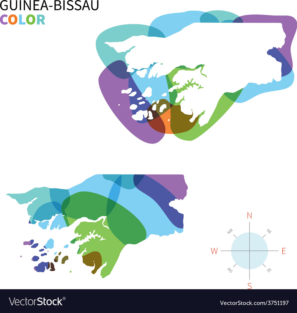 Abstract color map of guinea-bissau vector | Price: 1 Credit (USD $1)