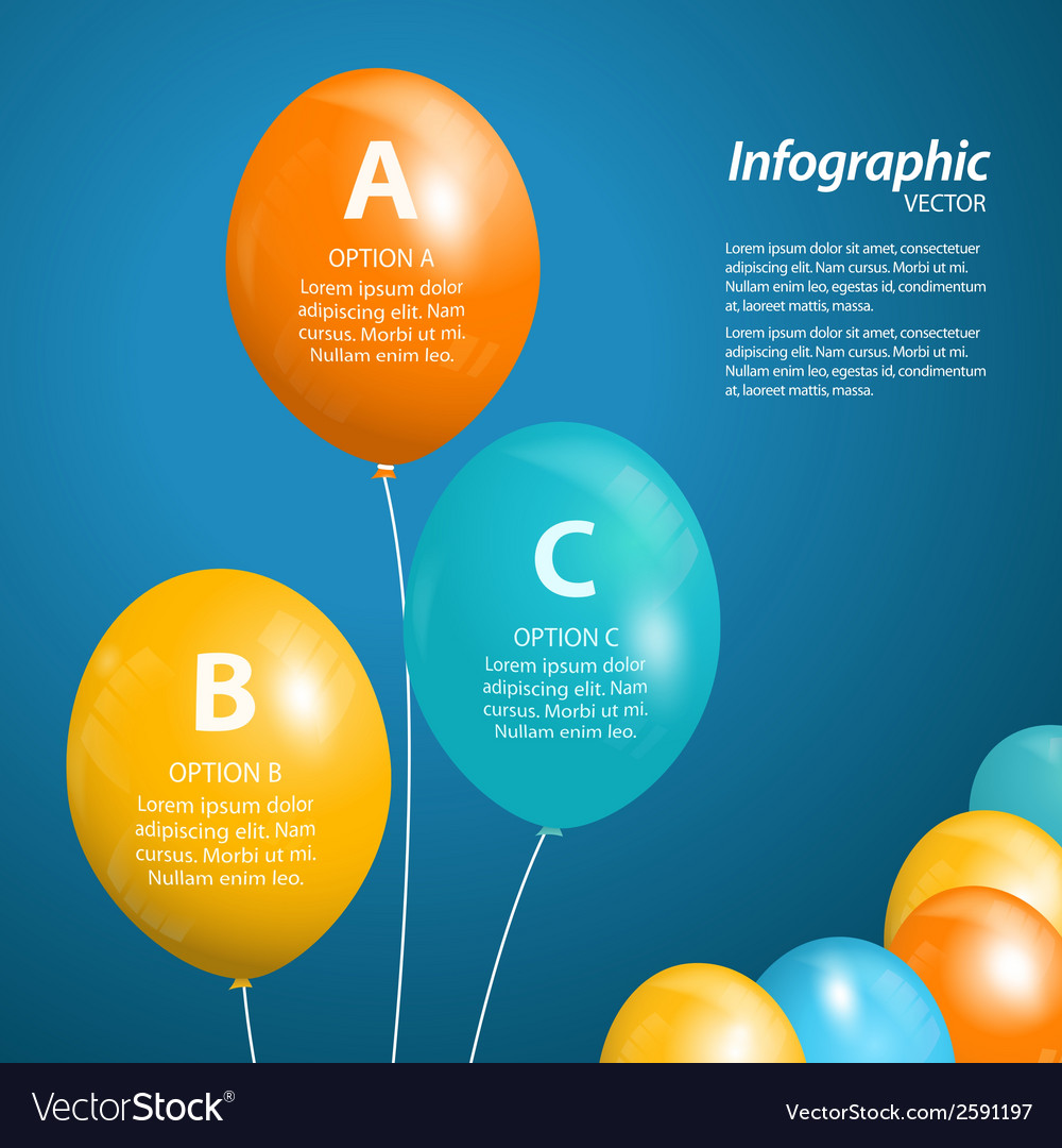 Balloon infographic square vector | Price: 1 Credit (USD $1)