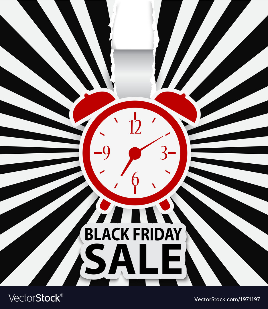 Black friday sale design with alarm clock vector | Price: 1 Credit (USD $1)
