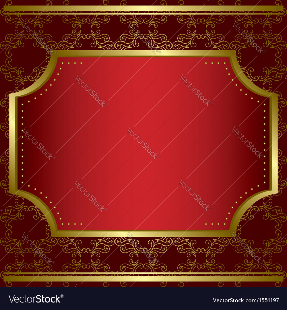 Decorative card with center gold frame vector | Price: 1 Credit (USD $1)