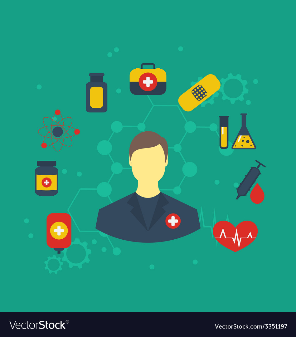 Doctor with medical icons for web design modern vector | Price: 1 Credit (USD $1)