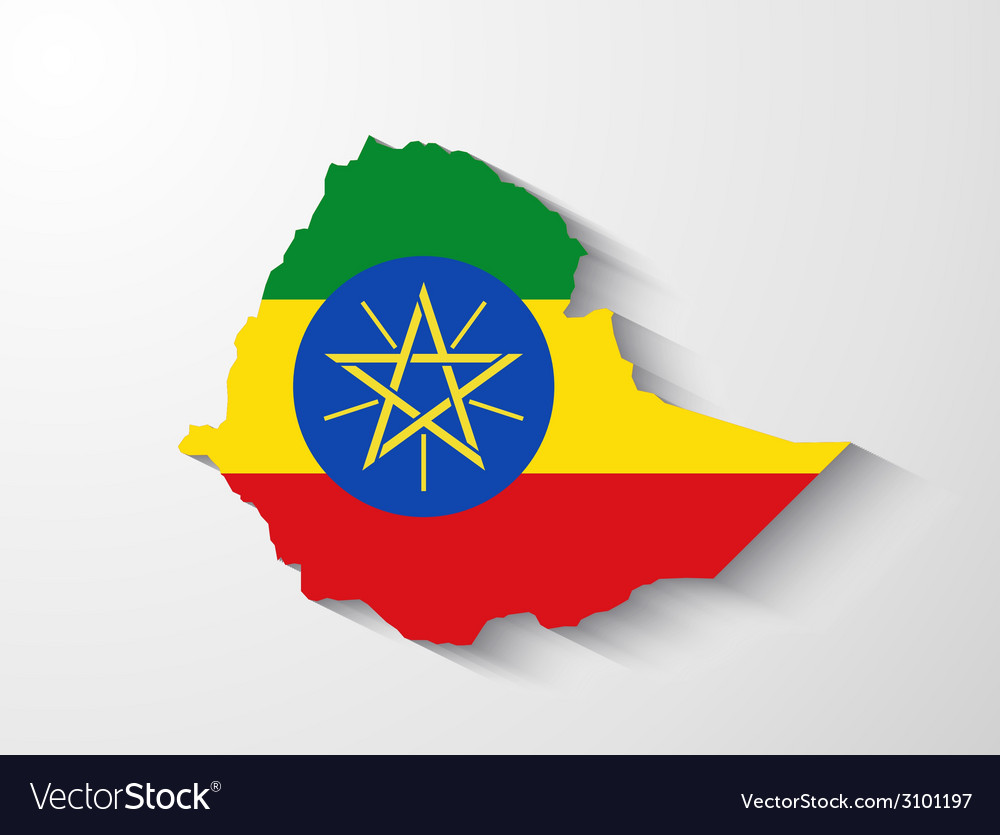 Ethiopia map with shadow effect vector | Price: 1 Credit (USD $1)