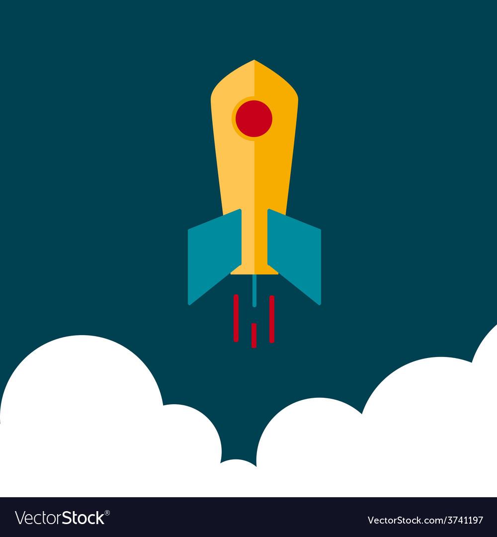 Flat rocket in space vector   Price: 1 Credit (USD $1)