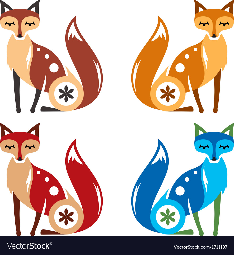 Fox four color vector | Price: 1 Credit (USD $1)