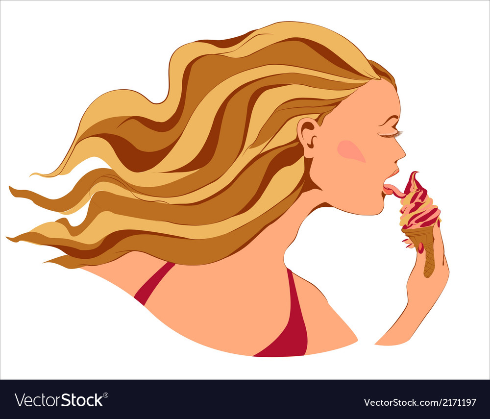 Girl with ice cream vector | Price: 1 Credit (USD $1)