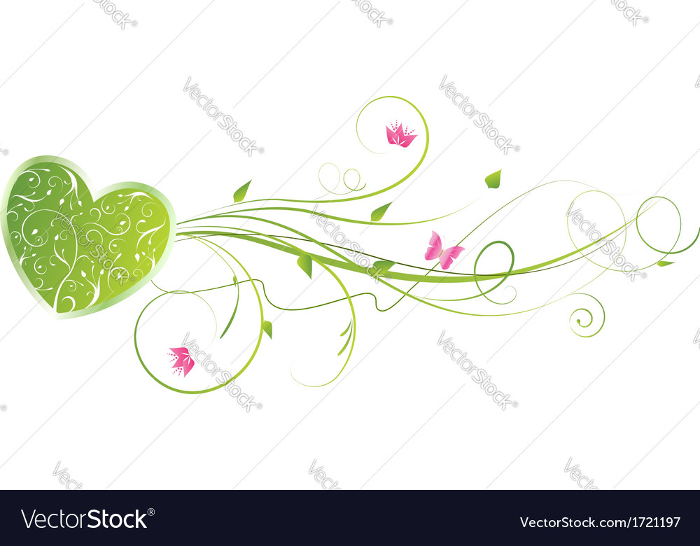 Green floral heart vector | Price: 1 Credit (USD $1)