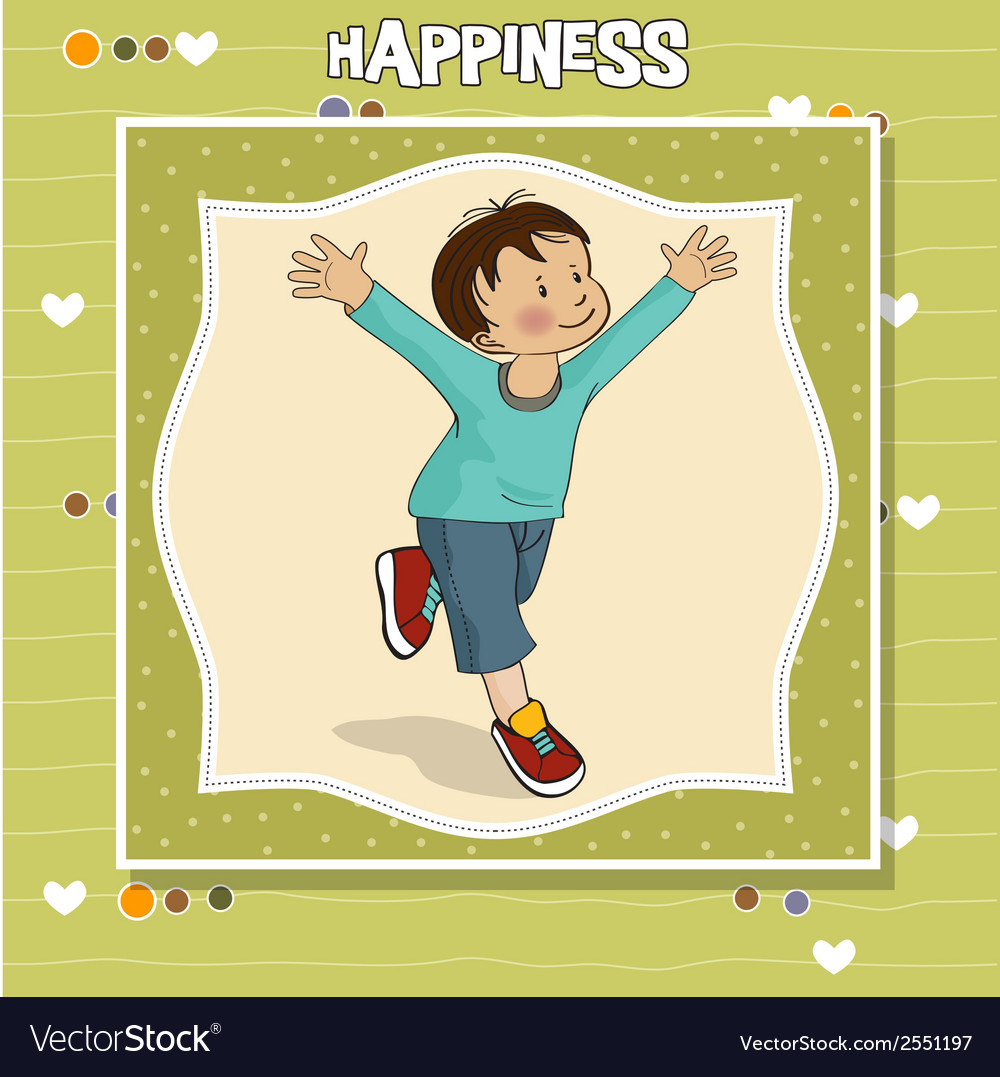 Happy little boy who runs vector | Price: 1 Credit (USD $1)