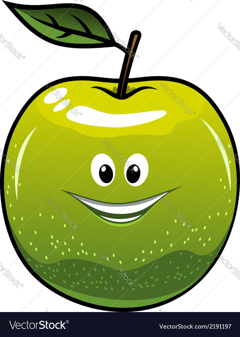 Healthy fresh green cartoon apple vector | Price: 1 Credit (USD $1)