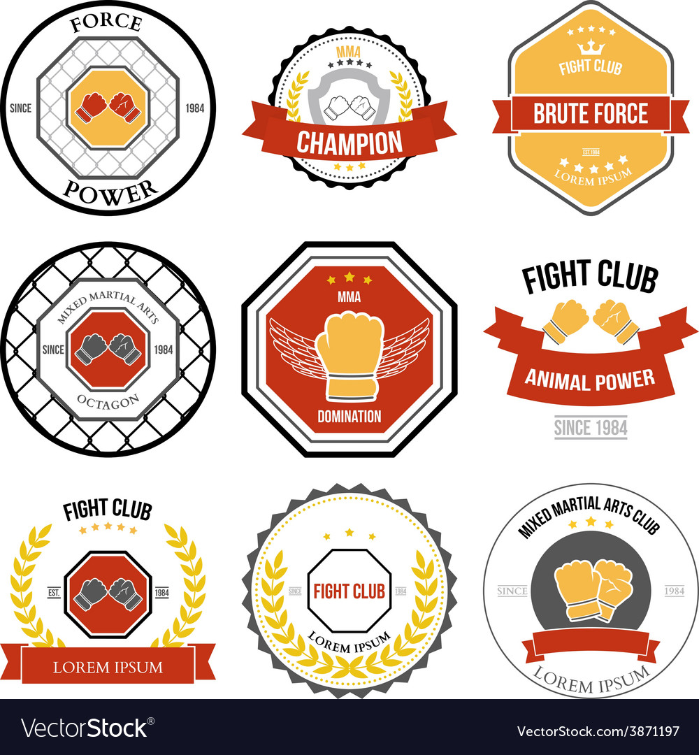 Set of mixed martial arts labels badges vector | Price: 1 Credit (USD $1)