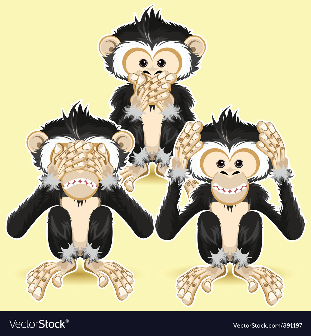 Speak no evil hear no evil vector | Price: 5 Credit (USD $5)