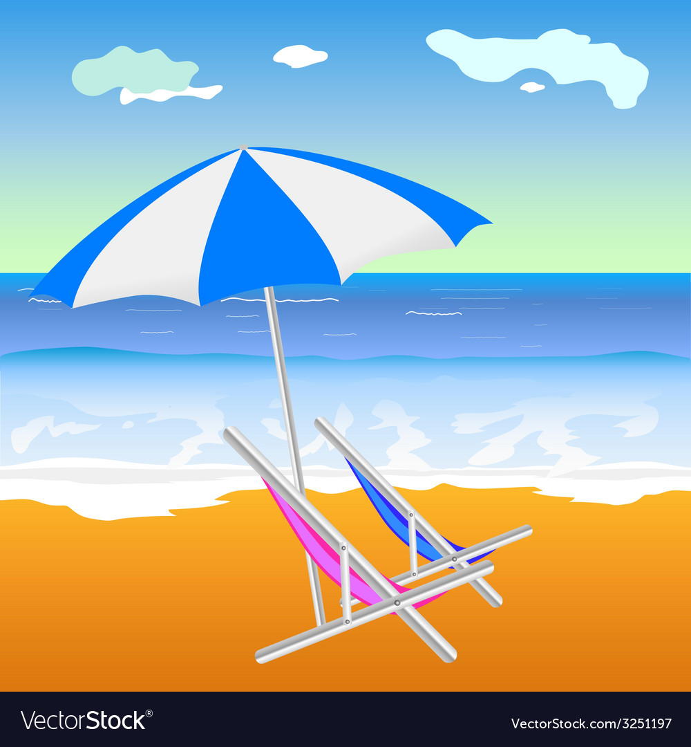 Umbrella with chair on the beach vector | Price: 1 Credit (USD $1)