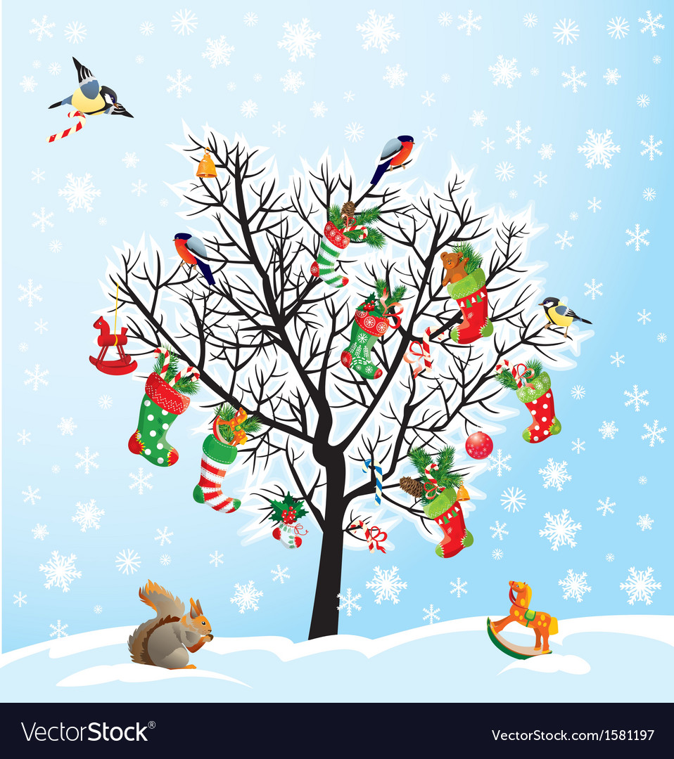 Winter tree with birds squirrel xmas shoes cand vector | Price: 1 Credit (USD $1)