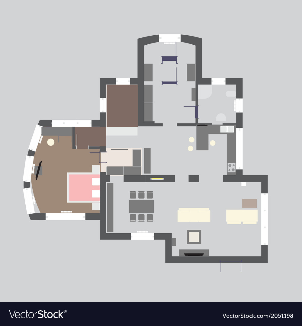 05 house plan v vector | Price: 1 Credit (USD $1)