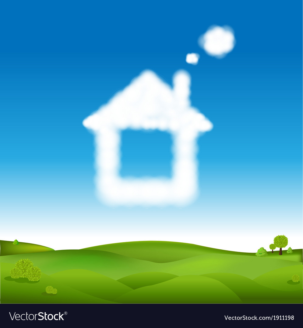 Abstract house from clouds in blue sky and green vector | Price: 1 Credit (USD $1)