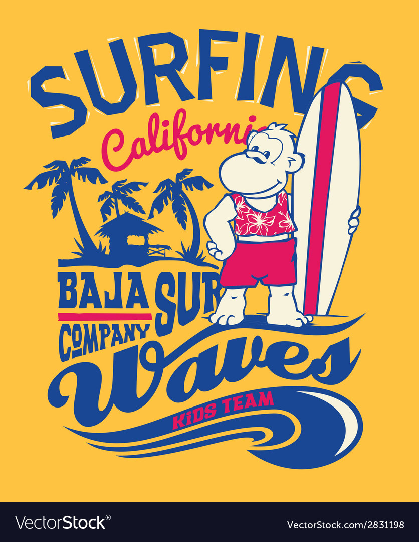 Baja california monkey surfing vector | Price: 1 Credit (USD $1)