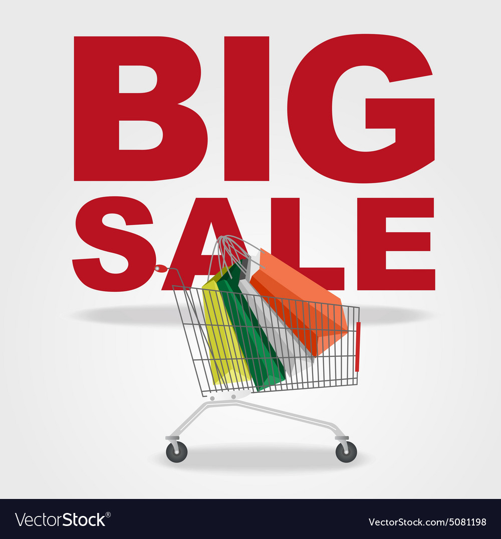Big sale and shopping cart vector