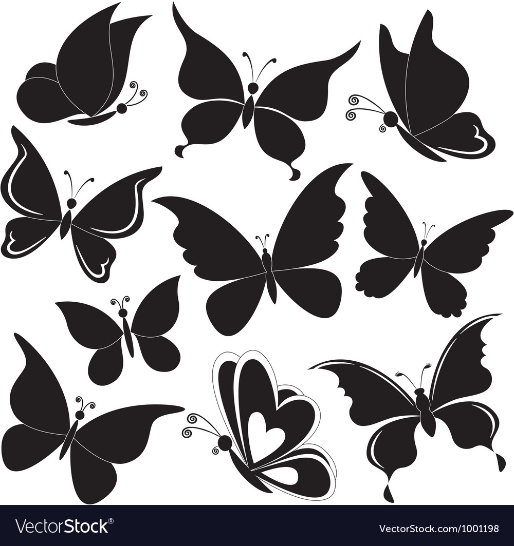 Butterflies black silhouettes vector | Price: 1 Credit (USD $1)