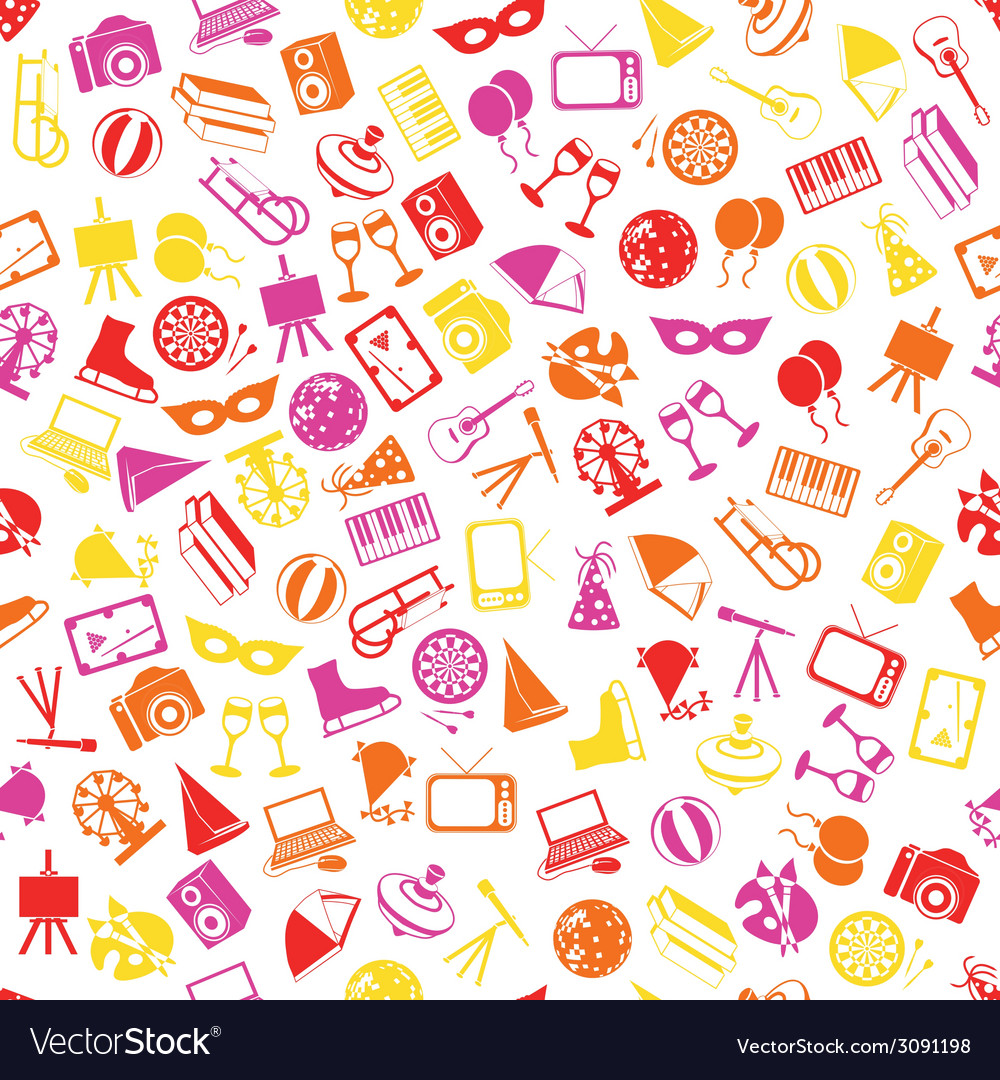 Entertainment seamless pattern vector | Price: 1 Credit (USD $1)