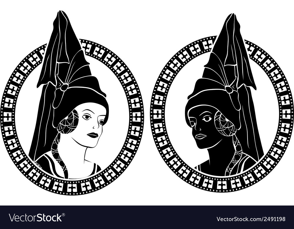 Girl portrait in medieval style medallion stencil vector | Price: 1 Credit (USD $1)