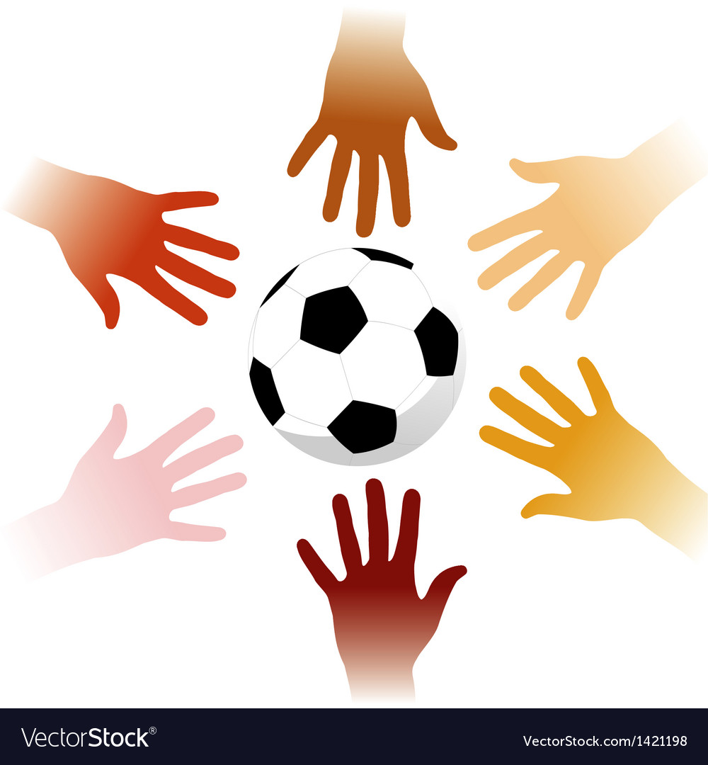 Hands around a soccer ball vector | Price: 1 Credit (USD $1)