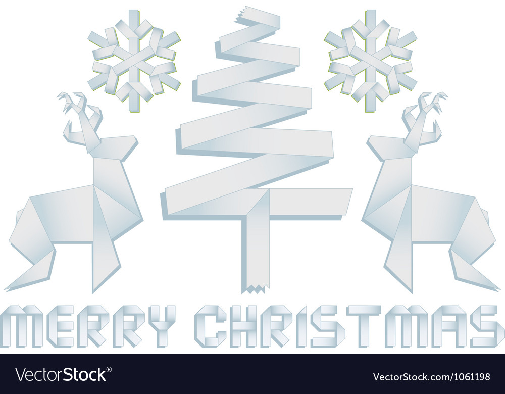Origami christmas design elements vector | Price: 1 Credit (USD $1)