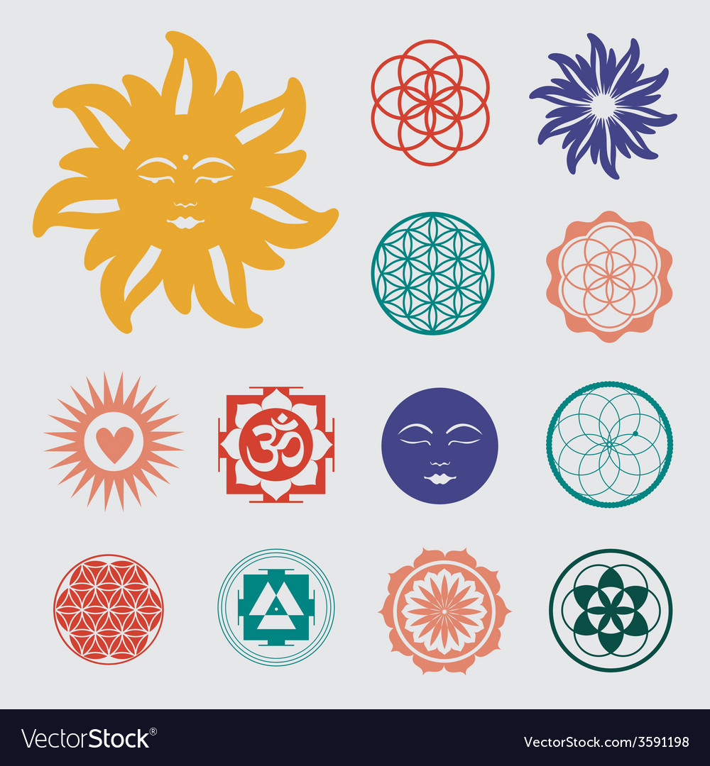 Sacred geometry icons set vector | Price: 1 Credit (USD $1)