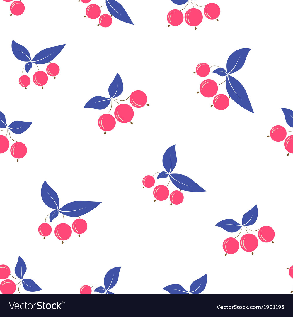 Seamless pink berry pattern blue leaves on white vector | Price: 1 Credit (USD $1)